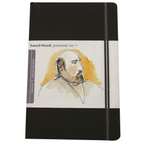 "Hand Book Journal Co.™ Travelogue Series Artist Journal 5.5"" x 3.5"" Pocket Portrait Ivory Black; Color: Black/Gray; Quantity: 128 Sheets; Size: 3 1/2"" x 5 1/2""; Weight: Heavyweight; (model 721211), price per each"
