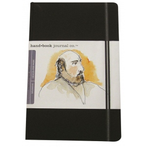 """Hand Book Journal Co.™ Travelogue Series Artist Journal 8.25"""" x 5.5"""" Large Portrait Ivory Black; Color: Black/Gray; Quantity: 128 Sheets; Size: 5 1/2"""" x 8 1/4""""; Weight: Heavyweight; (model 721411), price per each"""