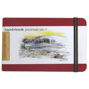 "Hand Book Journal Co.™ Travelogue Series Artist Journal 5.5"" x 8.25"" Large Landscape Vermillion Red: Red/Pink, 128 Sheets, 5 1/2"" x 8 1/4"", Heavyweight, (model 721424), price per each"