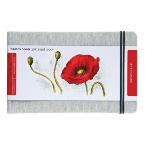 """Hand Book Journal Co.™ Travelogue Series Watercolor Journal 5.25"""" x 8.25"""" Large Landscape Linen; Material: Linen; Quantity: 60 Sheets; Size: 5 1/4"""" x 8 1/4""""; Weight: 110 lb; (model 769525), price per each"""