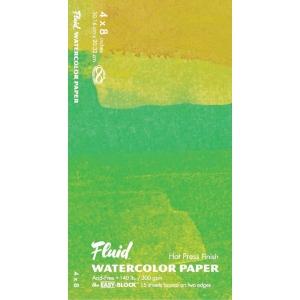 "Hand Book Journal Co.™ Fluid™ Easy-Block™ Hot Press Watercolor Paper 4"" x 8""; Quantity: 15 Sheets; Size: 4"" x 8""; Texture: Hot Press; Weight: 140 lb; (model 850048), price per 15 Sheets pad"