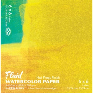 "Hand Book Journal Co.™ Fluid™ Easy-Block™ Hot Press Watercolor Paper 6"" x 6""; Quantity: 15 Sheets; Size: 6"" x 6""; Texture: Hot Press; Weight: 140 lb; (model 850066), price per 15 Sheets pad"