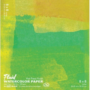 "Hand Book Journal Co.™ Fluid™ Easy-Block™ Hot Press Watercolor Paper 8"" x 8"": 15 Sheets, 8"" x 8"", Hot Press, 140 lb, (model 850088), price per 15 Sheets pad"