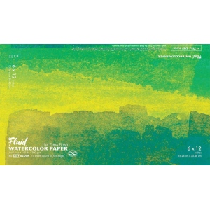 "Hand Book Journal Co.™ Fluid™ Easy-Block™ Hot Press Watercolor Paper 6"" x 12""; Quantity: 15 Sheets; Size: 6"" x 12""; Texture: Hot Press; Weight: 140 lb; (model 850612), price per 15 Sheets pad"