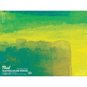 "Hand Book Journal Co.™ Fluid™ Easy-Block™ Hot Press Watercolor Paper 9"" x 12""; Quantity: 15 Sheets; Size: 9"" x 12""; Texture: Hot Press; Weight: 140 lb; (model 850912), price per 15 Sheets pad"