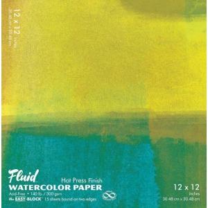"Hand Book Journal Co.™ Fluid™ Easy-Block™ Hot Press Watercolor Paper 12"" x 12""; Quantity: 15 Sheets; Size: 12"" x 12""; Texture: Hot Press; Weight: 140 lb; (model 851212), price per 15 Sheets pad"