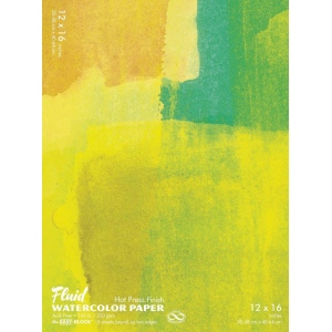 "Hand Book Journal Co.™ Fluid™ Easy-Block™ Hot Press Watercolor Paper 12"" x 16""; Quantity: 15 Sheets; Size: 12"" x 16""; Texture: Hot Press; Weight: 140 lb; (model 851216), price per 15 Sheets pad"