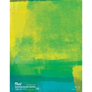 "Hand Book Journal Co.™ Fluid™ Easy-Block™ Hot Press Watercolor Paper 18"" x 24""; Quantity: 15 Sheets; Size: 18"" x 24""; Texture: Hot Press; Weight: 140 lb; (model 851824), price per 15 Sheets pad"