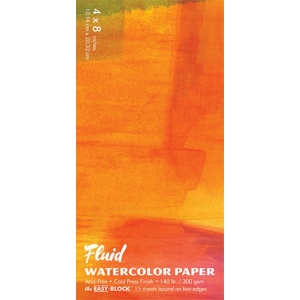 """Hand Book Journal Co.™ Fluid™ Easy-Block™ Cold Press Watercolor Paper 4"""" x 8""""; Quantity: 15 Sheets; Size: 4"""" x 8""""; Texture: Cold Press; Weight: 140 lb; (model 880048), price per 15 Sheets pad"""