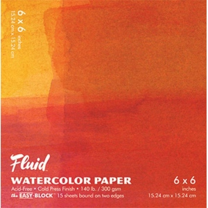 """Hand Book Journal Co.™ Fluid™ Easy-Block™ Cold Press Watercolor Paper 6"""" x 6""""; Quantity: 15 Sheets; Size: 6"""" x 6""""; Texture: Cold Press; Weight: 140 lb; (model 880066), price per 15 Sheets pad"""