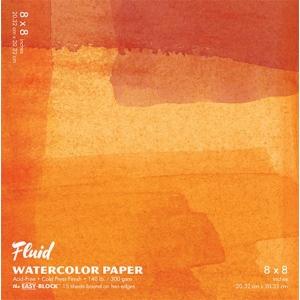 "Hand Book Journal Co.™ Fluid™ Easy-Block™ Cold Press Watercolor Paper 8"" x 8"": 15 Sheets, 8"" x 8"", Cold Press, 140 lb, (model 880088), price per 15 Sheets pad"