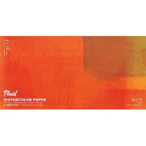 """Hand Book Journal Co.™ Fluid™ Easy-Block™ Cold Press Watercolor Paper 6"""" x 12""""; Quantity: 15 Sheets; Size: 6"""" x 12""""; Texture: Cold Press; Weight: 140 lb; (model 880612), price per 15 Sheets pad"""