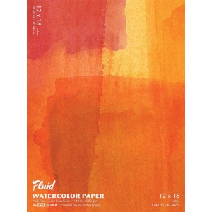 """Hand Book Journal Co.™ Fluid™ Easy-Block™ Cold Press Watercolor Paper 12"""" x 16""""; Quantity: 15 Sheets; Size: 12"""" x 16""""; Texture: Cold Press; Weight: 140 lb; (model 881216), price per 15 Sheets pad"""