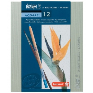 Bruynzeel® Design® Aquarel Watercolor Pencil 12-Set; Color: Multi; Lead Size: 3.8mm; Type: Watercolor; (model 8835H12), price per set