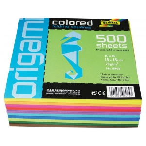 "Folia® Origami Paper 6"" x 6""; Color: Assorted; Quantity: 500 Sheets; Size: 6"" x 6""; (model 8965), price per 500 Sheets"