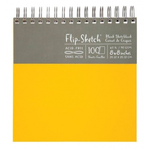 "Hand Book Journal Co.™ Flip-Sketch™ Wire-Bound Sketchbook 8"" x 8"" Square Butternut: Wire Bound, Yellow, 100 Sheets, 8"" x 8"", 60 lb, (model 960050), price per 100 Sheets pad"
