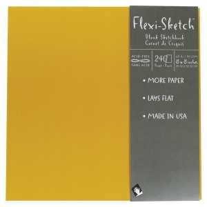 "Hand Book Journal Co.™ Flexi-Sketch™ Soft-Cover Sketchbook 8"" x 8"" Square Butternut; Color: Yellow; Quantity: 240 Sheets; Size: 8"" x 8""; Weight: 60 lb; (model 969150), price per 240 Sheets pad"