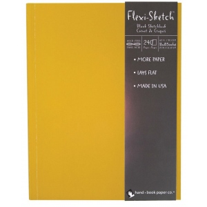 "Hand Book Journal Co.™ Flexi-Sketch™ Soft-Cover Sketchbook 11"" x 8.5"" Portrait Butternut; Color: Yellow; Quantity: 240 Sheets; Size: 8 1/2"" x 11""; Weight: 60 lb; (model 969170), price per 240 Sheets pad"
