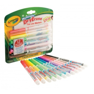 Crayola® Washable Dry Erase Fine Line Markers 12-Set; Color: Multi; Tip Type: Fine Nib; (model 98-5912), price per each