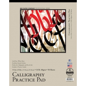 "Bee Paper® Calligraphy Practice Pad 11"" x 14""; Binding: Tape Bound; Color: White/Ivory; Format: Pad; Quantity: 50 Sheets; Size: 11"" x 14""; Weight: 16 lb; (model B1005T50-1114), price per 50 Sheets pad"