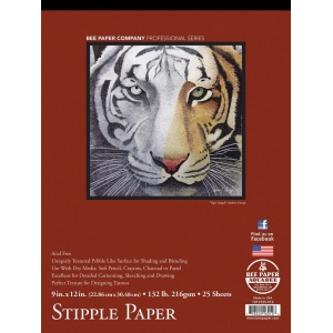 "Bee Paper® Stipple Paper Pad 9"" x 12"": Tape Bound, Pad, 25 Sheets, 9"" x 12"", Stipple, 132 lb, (model B1013T25-912), price per 25 Sheets pad"