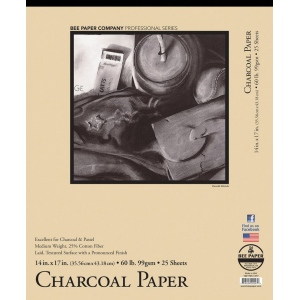 "Bee Paper® Charcoal Paper Pad 14"" x 17"": Tape Bound, White/Ivory, Pad, 25 Sheets, 14"" x 17"", Charcoal, 60 lb, (model B1021T25-1417), price per 25 Sheets pad"
