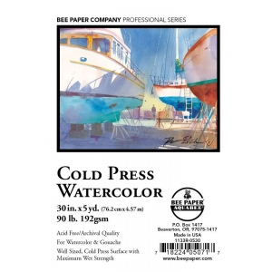 """Bee Paper® Cold Press Watercolor Roll 30"""" x 5yd; Format: Roll; Size: 30"""" x 5 yd; Type: Watercolor; Weight: 90 lb; (model B1133R-0530), price per roll"""