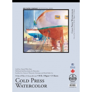 "Bee Paper® Cold Press Watercolor Pad 11"" x 15"" 90lb; Binding: Tape Bound; Format: Pad; Quantity: 15 Sheets; Size: 11"" x 15""; Type: Watercolor; Weight: 90 lb; (model B1133T15-1115), price per 15 Sheets pad"