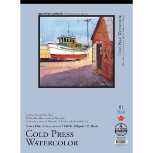 """Bee Paper® Cold Press Watercolor Pad 11"""" x 15"""" 140lb; Binding: Tape Bound; Format: Pad; Quantity: 15 Sheets; Size: 11"""" x 15""""; Type: Watercolor; Weight: 140 lb; (model B1136T15-1115), price per 15 Sheets pad"""