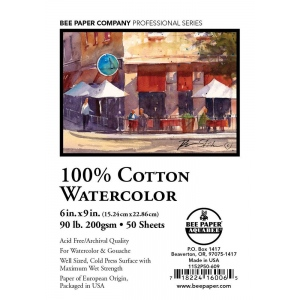 "Bee Paper® 100% Cotton Watercolor Sheets 6"" x 9"" 90lb 50pk; Format: Sheet; Quantity: 50 Sheets; Size: 6"" x 9""; Type: Watercolor; Weight: 90 lb; (model B1152P50-609), price per 50 Sheets"