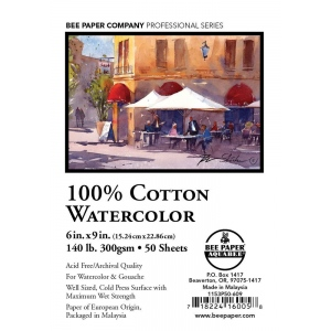 "Bee Paper® 100% Cotton Watercolor Sheets 6"" x 9"" 140lb 50pk; Format: Sheet; Quantity: 50 Sheets; Size: 6"" x 9""; Type: Watercolor; Weight: 140 lb; (model B1153P50-609), price per 50 Sheets"