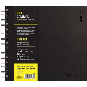 "Bee Paper® Bee Creative Marker Book 8"" x 8"": Wire Bound, White/Ivory, Pad, 50 Sheets, 8"" x 8"", Marker, 108 lb, (model B20003), price per each"