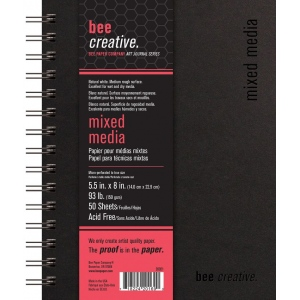 "Bee Paper® Bee Creative Mixed Media Book 5.5"" x 8"": Wire Bound, White/Ivory, Pad, 50 Sheets, 5.5"" x 8"", Mixed Media, 93 lb, (model B20021), price per each"
