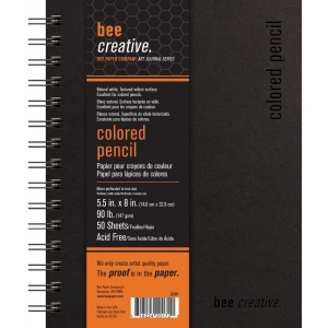 """Bee Paper® Bee Creative Colored Pencil Book 5.5"""" x 8""""; Binding: Wire Bound; Color: White/Ivory; Format: Pad; Quantity: 100 Sheets; Size: 5.5"""" x 8""""; Type: Colored Pencil; Weight: 90 lb; (model B20041), price per each"""