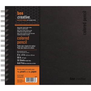 "Bee Paper® Bee Creative Colored Pencil Book 8"" x 8""; Binding: Wire Bound; Color: White/Ivory; Format: Pad; Quantity: 50 Sheets; Size: 8"" x 8""; Type: Colored Pencil; Weight: 90 lb; (model B20043), price per each"