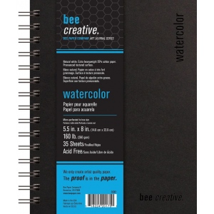 """Bee Paper® Bee Creative Watercolor Book 5.5"""" x 8""""; Binding: Wire Bound; Color: White/Ivory; Format: Pad; Quantity: 35 Sheets; Size: 5.5"""" x 8""""; Type: Watercolor; Weight: 160 lb; (model B20061), price per each"""