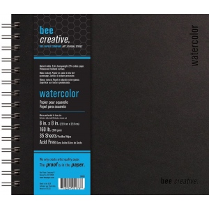 """Bee Paper® Bee Creative Watercolor Book 8"""" x 8""""; Binding: Wire Bound; Color: White/Ivory; Format: Pad; Quantity: 35 Sheets; Size: 8"""" x 8""""; Type: Watercolor; Weight: 160 lb; (model B20063), price per each"""