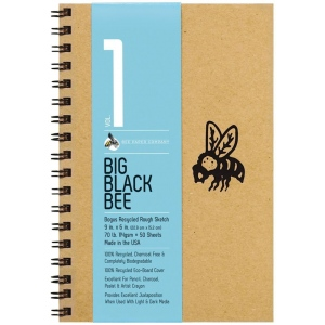 "Bee Paper® Big Black Bee Bogus Recycled Rough Sketch Paper Pad 9"" x 6"": Wire Bound, Brown, Pad, 50 Sheets, 6"" x 9"", Drawing, 70 lb, (model B202CB50-609), price per 50 Sheets pad"