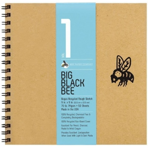 "Bee Paper® Big Black Bee Bogus Recycled Rough Sketch Paper Pad 9"" x 9""; Binding: Wire Bound; Color: Brown; Format: Pad; Quantity: 50 Sheets; Size: 9"" x 9""; Type: Drawing; Weight: 70 lb; (model B202CB50-909), price per 50 Sheets pad"