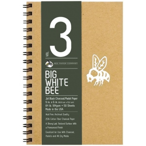 "Bee Paper® Big White Bee Jet Black Charcoal/Pastel Paper 9"" x 6"": Wire Bound, Black/Gray, Pad, 50 Sheets, 6"" x 9"", Charcoal, 64 lb, (model B204CB50-609), price per 50 Sheets pad"