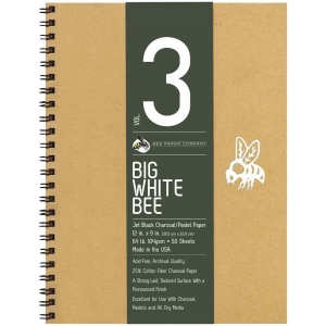 "Bee Paper® Big White Bee Jet Black Charcoal/Pastel Paper 12"" x 9""; Binding: Wire Bound; Color: Black/Gray; Format: Pad; Quantity: 50 Sheets; Size: 12"" x 9""; Type: Charcoal; Weight: 64 lb; (model B204CB50-912), price per 50 Sheets pad"