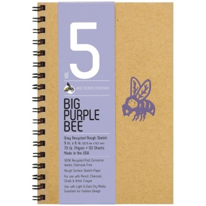 "Bee Paper® Big Purple Bee Gray Recycled Rough Sketch Paper 9"" x 6"": Wire Bound, Black/Gray, Pad, 50 Sheets, 9"" x 6"", Drawing, 70 lb, (model B206CB50-609), price per 50 Sheets pad"