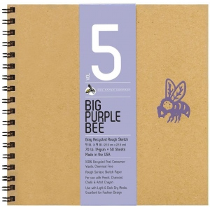 """Bee Paper® Big Purple Bee Gray Recycled Rough Sketch Paper 9"""" x 9"""": Wire Bound, Black/Gray, Pad, 50 Sheets, 9"""" x 9"""", Drawing, 70 lb, (model B206CB50-909), price per 50 Sheets pad"""