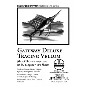 "Bee Paper® Gateway Deluxe Tracing Vellum Sheets 9"" x 12"" 83 lb: Sheet, 100 Sheets, 9"" x 12"", Tracing, 84 lb, (model B445P100-912), price per 100 Sheets"