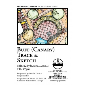"Bee Paper® Buff Canary Trace & Sketch Roll 18"" x 20yd: Yellow, Roll, 18"" x 20 yd, Tracing, (model B510R-2018), price per roll"