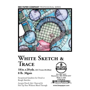 "Bee Paper® White Sketch & Trace Roll 18"" x 20yd; Color: White/Ivory; Format: Roll; Size: 18"" x 20 yd; Type: Tracing; (model B515R-2018), price per roll"