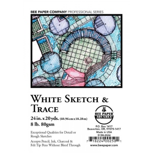 "Bee Paper® White Sketch & Trace Roll 24"" x 20yd; Color: White/Ivory; Format: Roll; Size: 24"" x 20 yd; Type: Tracing; (model B515R-2024), price per roll"