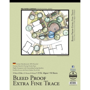 """Bee Paper® Bleed Proof Extra Fine Trace Pad 11"""" x 14""""; Binding: Tape Bound; Format: Pad; Quantity: 50 Sheets; Size: 11"""" x 14""""; Type: Tracing; Weight: 25 lb; (model B525T50-1114), price per 50 Sheets pad"""