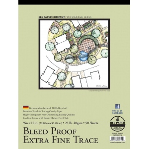 "Bee Paper® Bleed Proof Extra Fine Trace Pad 9"" x 12"": Tape Bound, Pad, 50 Sheets, 9"" x 12"", Tracing, 25 lb, (model B525T50-912), price per 50 Sheets pad"
