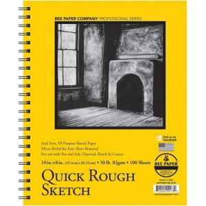 """Bee Paper® Quick Rough Sketch Pad 10"""" x 8""""; Binding: Wire Bound; Format: Pad; Quantity: 100 Sheets; Size: 8"""" x 10""""; Type: Sketching; Weight: 50 lb; (model B6075RS100-810), price per 100 Sheets pad"""